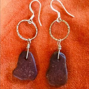 Jewelry - Sterling silver and sea glass earrings